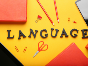 an image of a table with some stationery surrounded by the word 'language'
